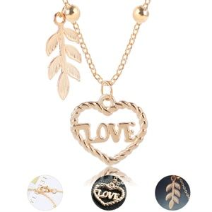 Jewelry - Eternal Love Gold Heart & Feather Pendant …